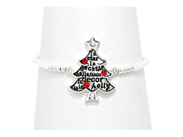 Silver Burnished Christmas Tree Bead Stretch Bracelet - $9.95