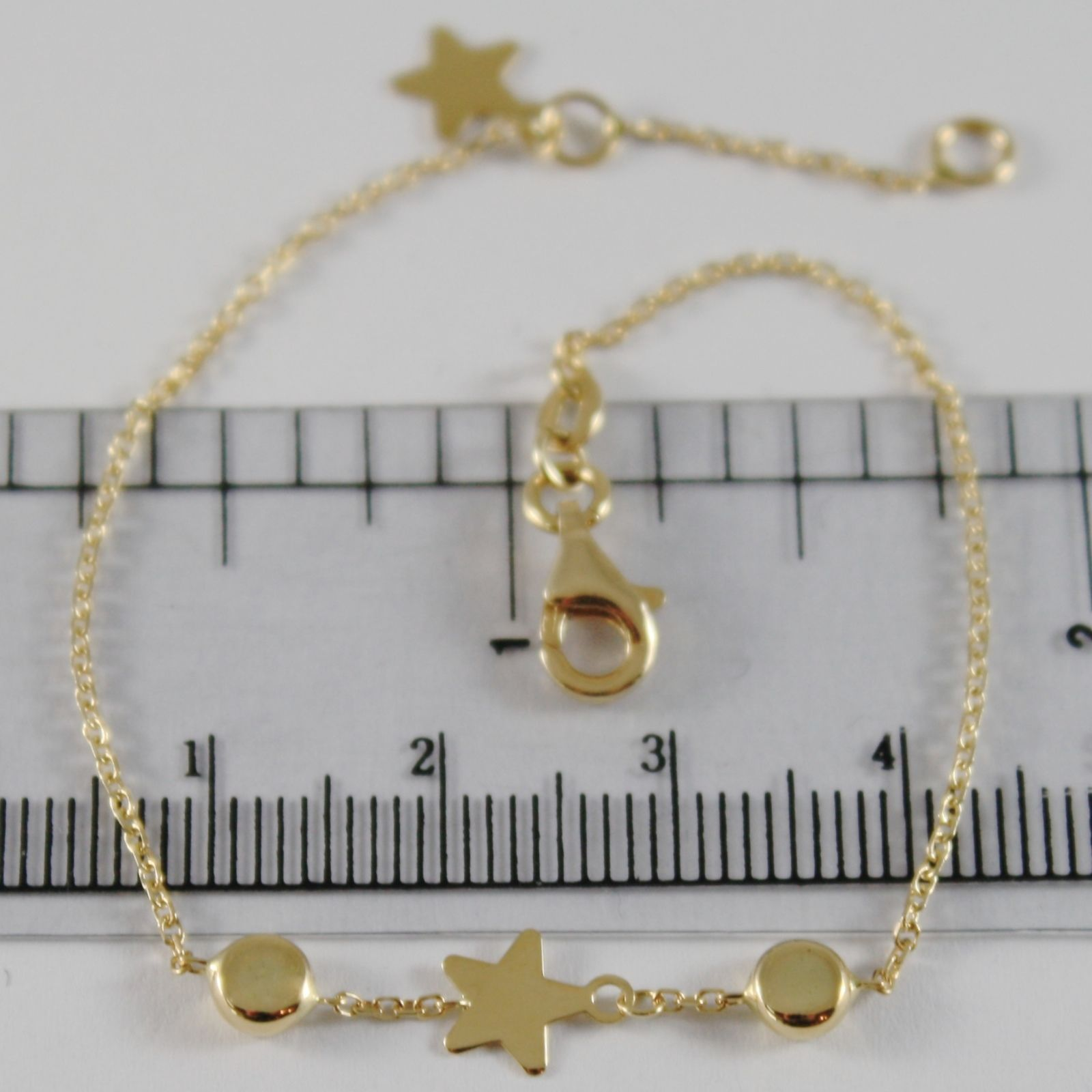 18K YELLOW GOLD GIRL BRACELET 6.70 INCHES WITH FLAT STAR AND DISC, MADE IN ITALY