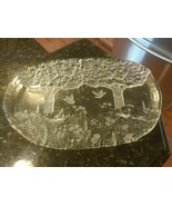 Mikasa Serving Platter Tray Frosted Glass Winter Forest Etched Scene Dov... - $92.30