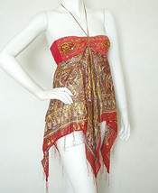L80 Red Hippie Gypsy Embroidered Lurex Women Club Shimmering Blouse Top ... - $24.65