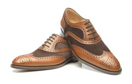Handmade Men's Brown Wing Tip Brogue Style Oxford Leather Shoes image 4