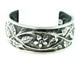 Sterling Silver Silpada B1475 Floral Flower Cuff Bracelet Oxidized 27mm ... - $98.99