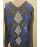 Club Room Men's Gray Blue Argyle Print V-neck Cotton Knit Pullover Sweater - $19.99
