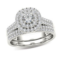 Halo Bridal Wedding Ring Set 14k White Gold Plated 925 Silver Round Cut Diamond - $92.14