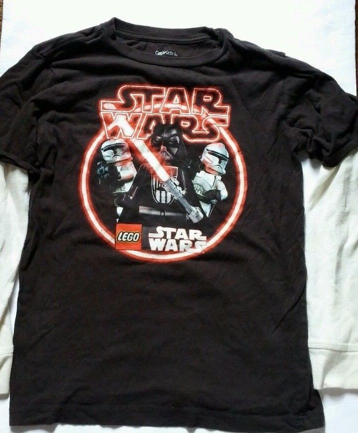 Gap Kids Star Wars Lego Darth Vader and Storm Troopers Black Shirt Size L 10
