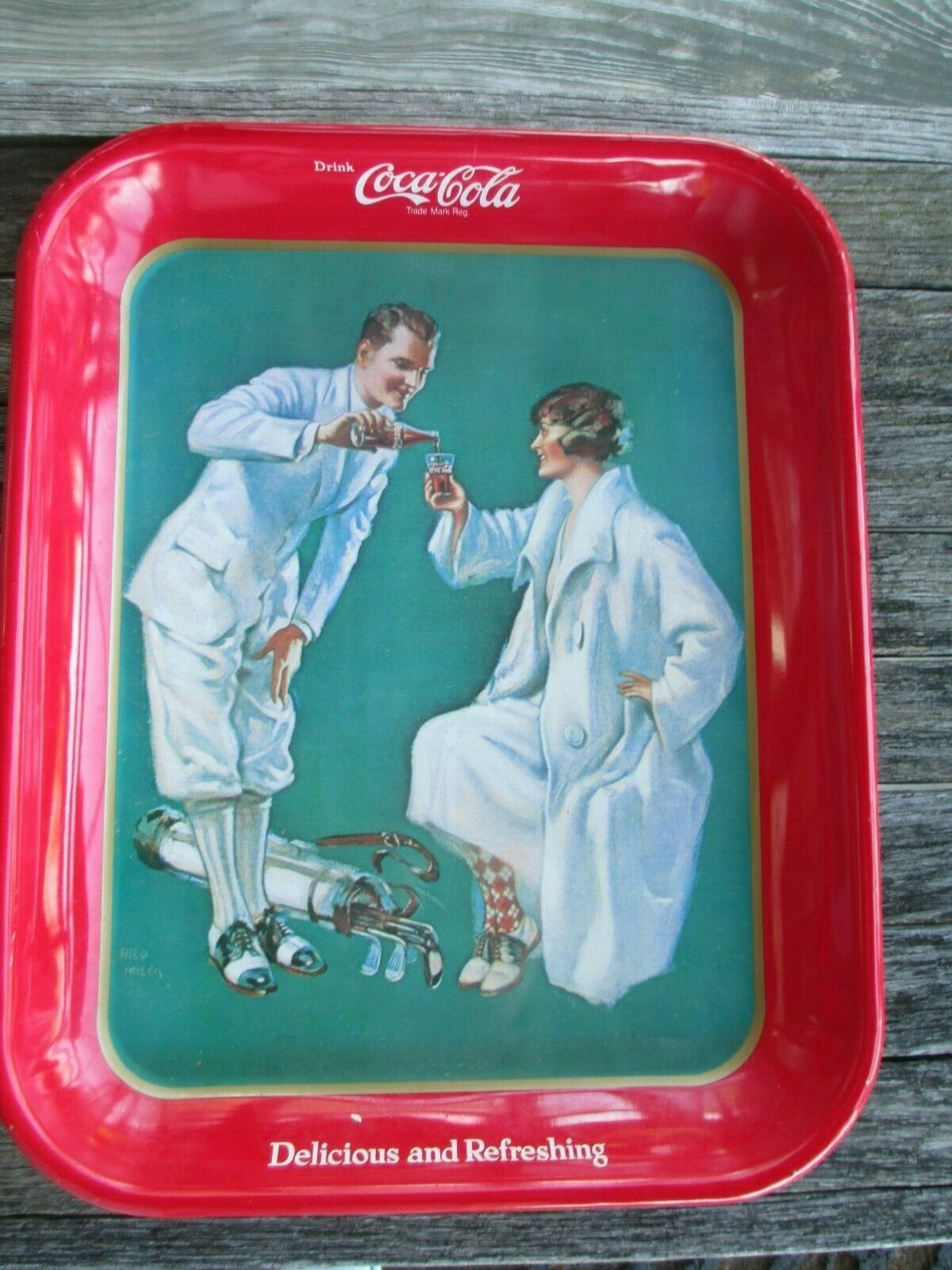 Coca-Cola Reproduction Tray Golfing Couple Fred Mizen Issued 1973