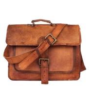 New Men Goat Laptop Briefcase Rustic Soft Leather Brown Messenger Should... - $67.91