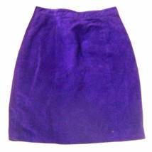 Global Identity Purple Suede Leather Skirt Knee Length Skirt Sz XS/S - $37.99