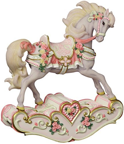 The San Francisco Music Box Company Hearts and Roses Musical Rocking Horse