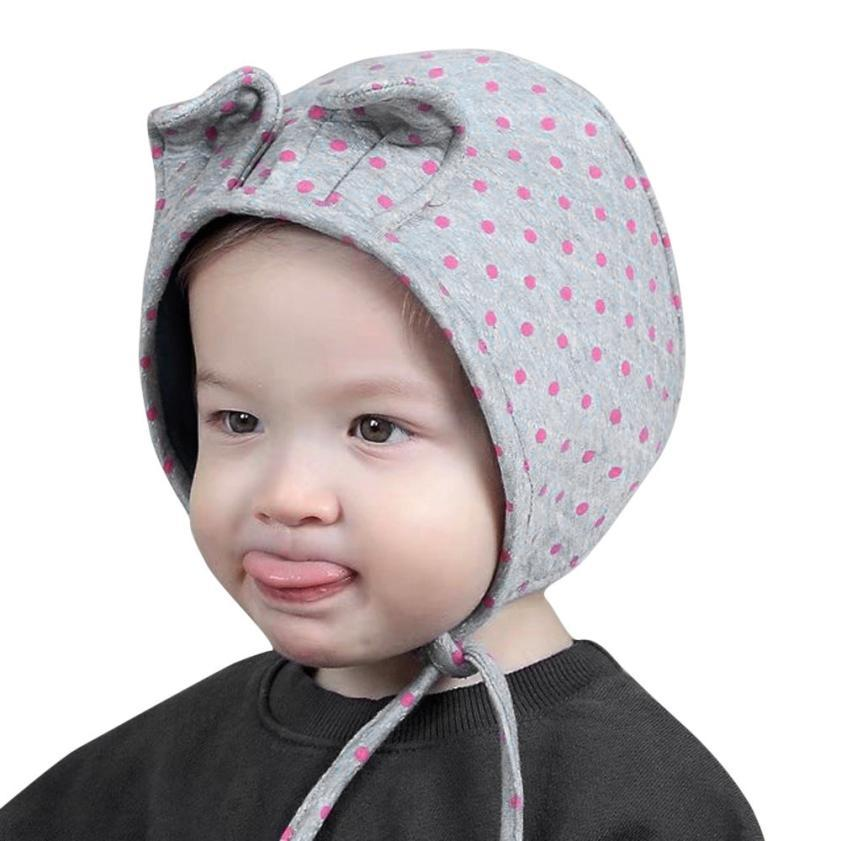54ba0924c3a Kids boy girl hair ball earbud hat child print knit hat children s hats  touca inverno