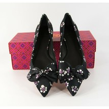 Tory Burch Rosalind Black Stamped Floral Pointed Toe Bow Ballet Flats Sz 8 NIB - $152.96