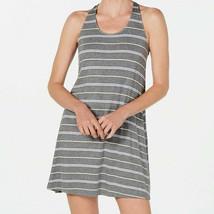 Alfani Nightgown Womens Size Large Gray Stripe Chemise Keyhole Jersey Knit - $19.79