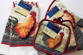 ROOSTER KITCHEN SET 5pc Farm Fresh Towels Mitt Potholders Red Chicken Co... - $13.99