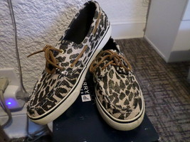 Ladies Sperry Top-Sider Boat Shoe Bahama Black Sparkle Leo Sz 8M - $35.00