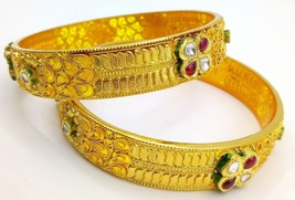 22 K YELLOW GOLD BRIDAL KUNDAN BANGLE BRACELET NICE HANDMADE DESIGN FILI... - $5,728.13