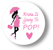 """12 baby shower stickers round 2.5"""" ready to pop baby girl pink labels ta... - $8.99"""