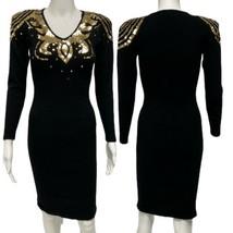 Vintage Outlander women's dress black beaded lambswool long sleeve size P - $44.44