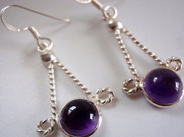 Dangling Spheres AMETHYST 925 Silver Earrings - $9.89