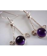Dangling Spheres AMETHYST 925 Silver Earrings - $9.89