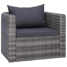 vidaXL Garden Chair with Cushion and Pillow Poly Rattan Gray Single Sofa... - $125.99
