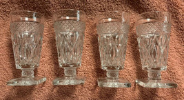 Vintage Pair Imperial CAPE COD Juice Glasses w/ Square Foot Clear Emboss... - $23.75