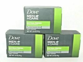 Lot of 3**Dove Men + Care**Extra Fresh Bar Soap 4 oz Moisture Cream Great Scent! - $9.41