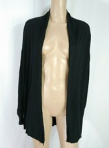 Ann Taylor Black Draped Open Flyaway Minimalist Lightweight Shrug Cardig... - $5.00