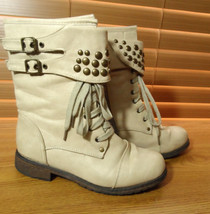 f8d53d43f0c4 WILD DIVA LOUNGE Studded Biker Boots women 7 Beige Tan Lace  amp  Zip Punk G