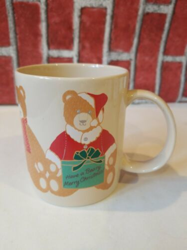 Primary image for Hallmark Teddy Bear Coffee Mug Cup Have a Beary Merry Christmas 1985 beige Used