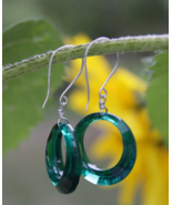 Green Vintage Hoop Earrings In Sterling Silver, Holiday Party Accessories - £22.37 GBP
