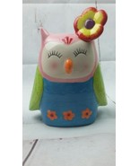 New Ceramic Cute Colorful Pink Blue Green Red Yellow Owl Saving Bank Spring - $10.39