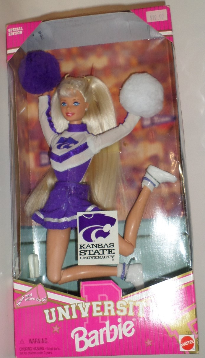 Mattel Barbie Doll Kansas State University Cheerleader 1996 purple wht uniform