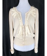 Millou Cream Cardigan Sweater Lace and Pearl Accents Lightweight Medium - $44.69