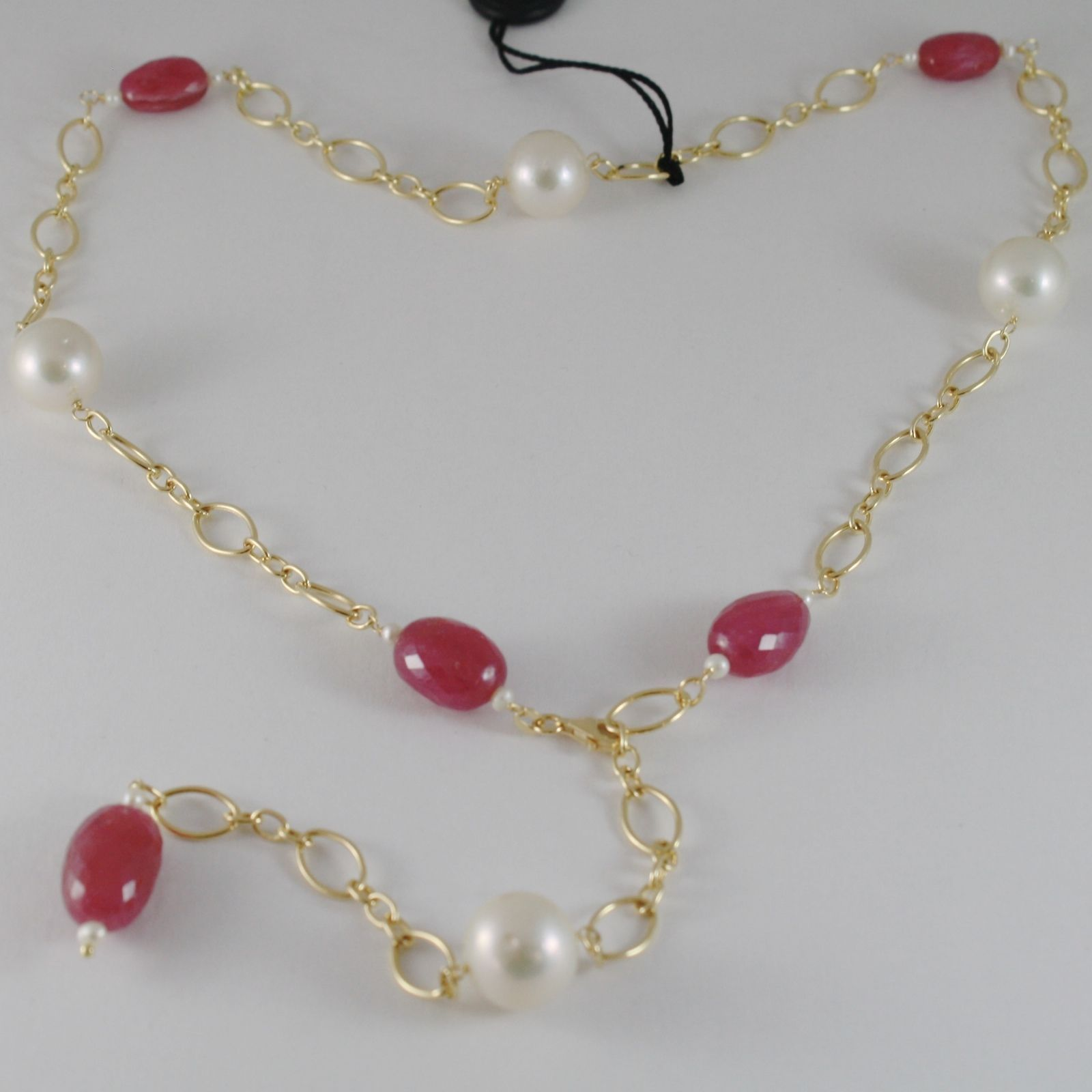 18K YELLOW GOLD NECKLACE BIG WHITE PEARLS & RUBIES, LARIAT / CHAIN MADE IN ITALY