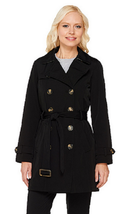 Liz Claiborne New York Double Breasted Trench Coat, Black, S , $97 - $49.49