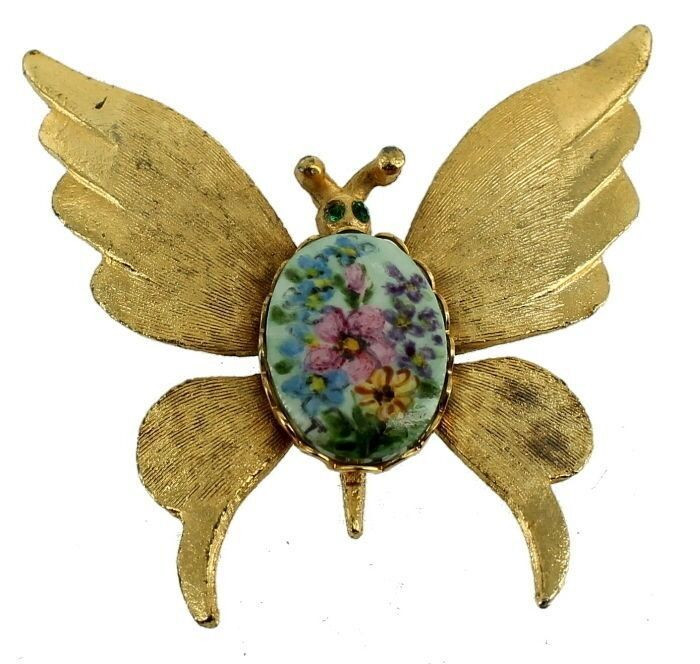 Primary image for VINTAGE LARGE BRUSHED GOLD BUTTERFLY LIMOGES HAND PAINTED FLOWER PLAQUE TILE PIN