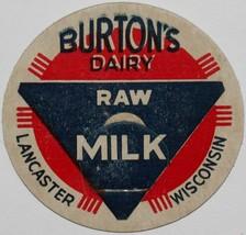 Vintage milk bottle cap BURTONS DAIRY Raw Milk Lancaster Wisconsin new o... - $9.99