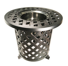 Round Patio End Table  With Ice Bucket Insert Nassau Outdoor Cast Aluminum image 2