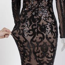Elegant Long Sleeve Stretch Black Sequined Evening Party Dress Floor Length Blac image 4
