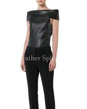 Off Shoulder Women Leather Tops
