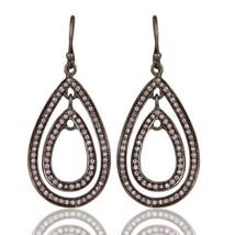 Natural Pink Zircon Black Oxidized 925 Sterling Silver Dangle Earrings J... - $53.46