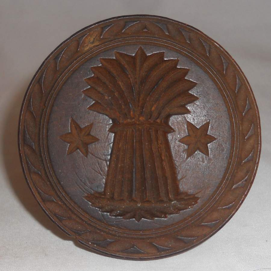 Antique Primitive Butter Print Carved Wheat Sheaf Design Knob Shaped Handel