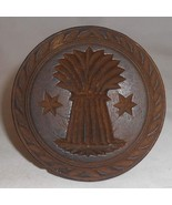 Antique Primitive Butter Print Carved Wheat Sheaf Design Knob Shaped Handel - $50.00