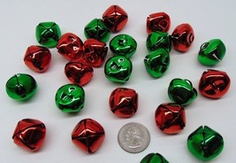 "Red + Green JINGLE BELLS ~ 25mm 1"" Metal w/ Loop Mix or Get One Color Ch... - $6.17+"