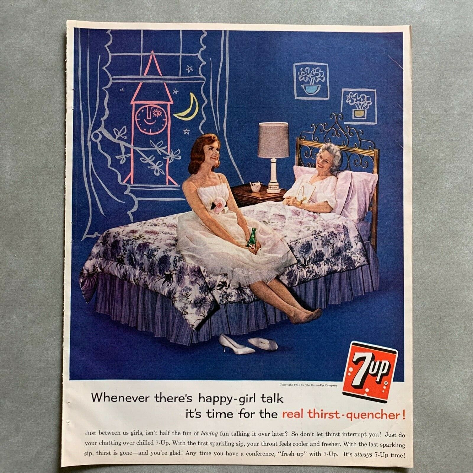 Primary image for Vintage Seven-Up Girl Talk 7up Soda Photo Print Magazine Ad 1961 Thirst Quencher
