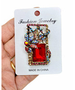 "1.75"" Wide Red & AB Designer Deco Inspired Brooch/Pendant Wearable As Ei... - $12.83"