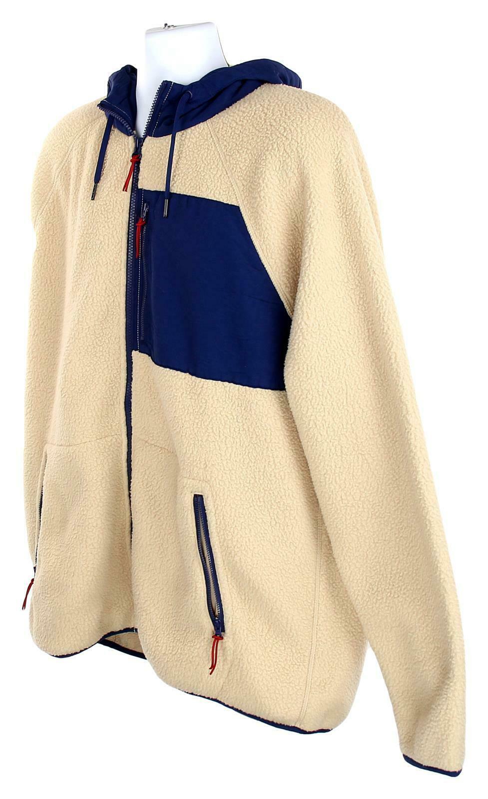 J Crew Mens Sherpa Zip Front Hooded Jacket Fleece Coat XL Navy Cream K4296 image 4