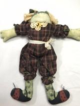 "Vintage Fabric Handmade Stuffed Plush Country Rustic Frog Decorative 17"" - $34.64"