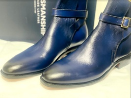 Handmade Men's Blue High Ankle Monk Strap Leather Boot image 3