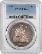 1867 $1 PCGS PR 64 - Appealing, Natural Color - Liberty Seated Dollar - $5,655.10
